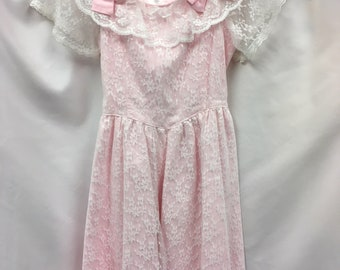 vintage PINK LACE EASTER Girls Ruffle Bow White Dress Size 8 1980s