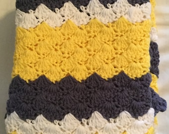 Crochet Baby Blanket-Travel/Stroller/Crib/Car Seat/Yellow -White-Denim/Denim Ruffle Border