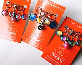 Iridescent Mermaid | Dragon | Fish Scale | Iridescent | Stitch Markers for knitting or crochet - Set of 5 - charms