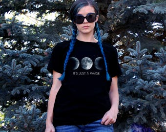 It's Just A Phase Short Sleeve Unisex T-Shirt - Moon Phases Cotton Jersey Knit Tee Shirt - Triple Moon - Luna - Full & New Moon Quote Shirt