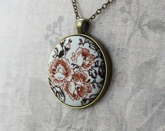 Rustic Jewelry, Bohemian Necklace for Women, Rustic Wedding, Rust Orange, Brown, Vintage Floral Fabric Pendant, Boho, Fall Wedding