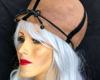 1950s Cloche Wool Brown/Black Hat