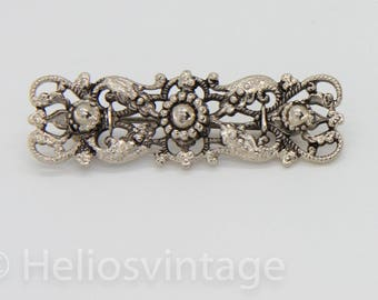 Vintage silver decorated brooch, vintage pin, silver juwelry, gift for her, bar brooch, rectangular brooch, free shipping