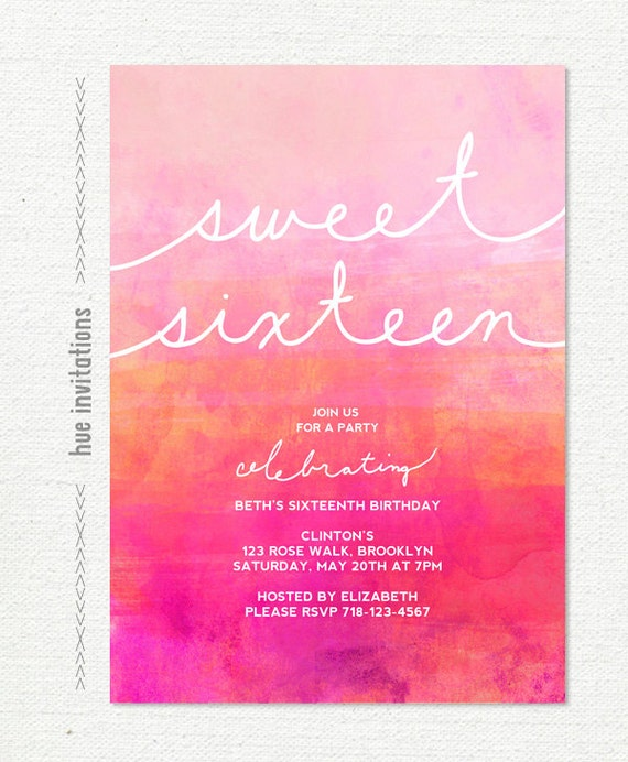 Ombre watercolor sweet 16 birthday invitation pink magenta like this item filmwisefo Images