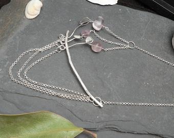 Three Fluorite Flowers Sterling Silver Statement Necklace
