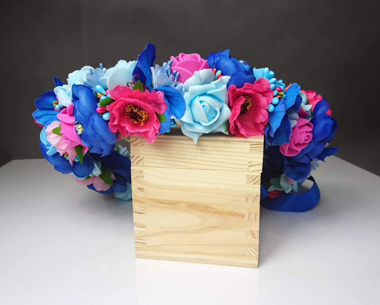 Pink fuchsia blue flower floral crown wreath artificial flowers gallery photo gallery photo gallery photo gallery photo izmirmasajfo