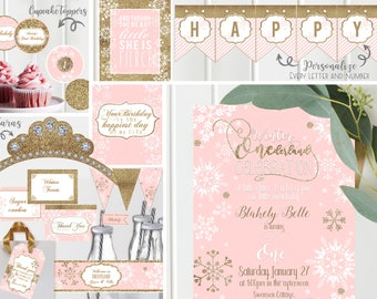 Winter ONEderland Girls Birthday Party Invite Invitation Decor Wonderland One First Wintery Pink Gold Glitter Snowflakes - Instant Download