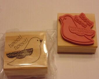 bird, tweet tweet, rubber stamp, 55 mm (HR1)