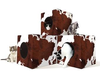 Modular Cardboard Cat furniture, cat tree, Large Covered Cat House, Large Covered Cat Boxes, stackable