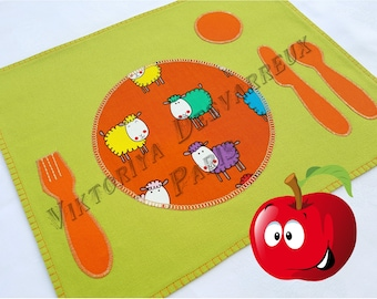 Kids Placemat , Montessori Placemat , School Children's Placemat, Back to School, Montessori Practical Life , Cloth Placemat, Place Setting