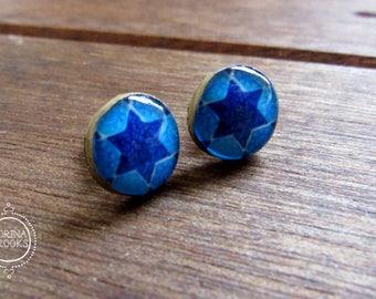 Judaica Jewelry, Jewish jewelry, Hebrew Art, Vintage tile design 14th century, Star of David, Blue, Post earrings, Stud earrings, Ethnic