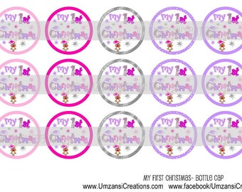 """15 My First Christmas Digital Download for 1"""" Bottle Caps (4x6)"""