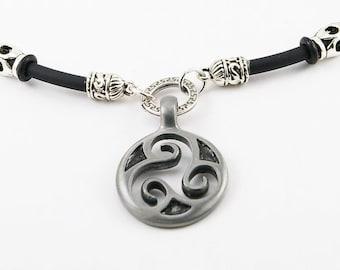 Celtic necklace etsy triskele mens necklace on rubber cordmen pendant mens necklace triskele pendant mozeypictures Gallery