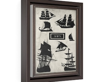 Ships - Vertical Framed Premium Gallery Wrap Canvas Size: 8″ × 10″