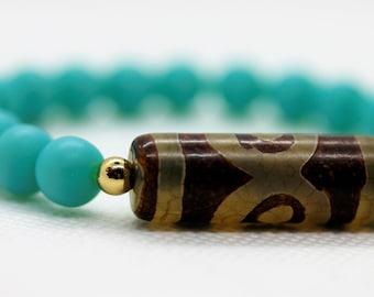 Boho Turquoise 3-eye Dzi Bead Bracelet, Gift for Her and Him