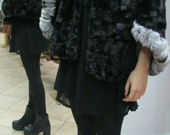 NEW!!!Fine Natural Real One size BLACK  Mink Fur Bolero-Jacket!!!