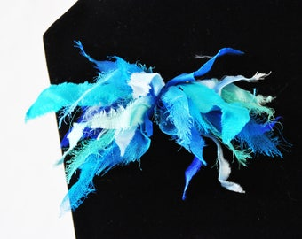 """PIN silk and chiffon painted by hand, """"Ma"""" blue and sea"""