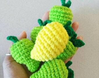 Mini mango fruit crochet:mango,fruit,fruits,fruit crochet,mango crochet,craft,handmade,Thailand dolls,