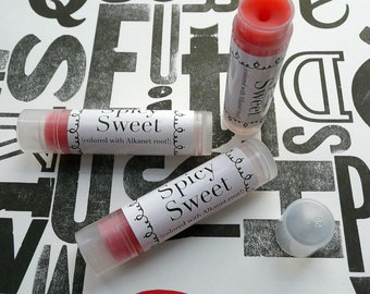 Spicy Sweet all natural .15ml lip balm with alkanet root (flavor free)