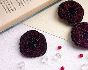 Beaded Poppy Brooch, Set of Three Brooches, Bead Embroidery Brooch, Poppy Jewelry, Remembrance Day Brooch, Veterans Day, Mother's Day Gift