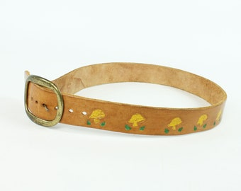 70s Mushroom Tooled Leather Belt Brass Buckle Waist 31 in. Vintage 1970s Hippie Boho Festival Bell Bottoms