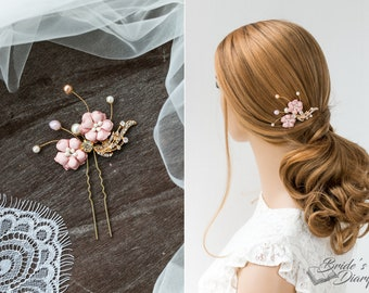 1pc Bridal hair pins, pearl hair pins, golden color hair pins with pink flowers