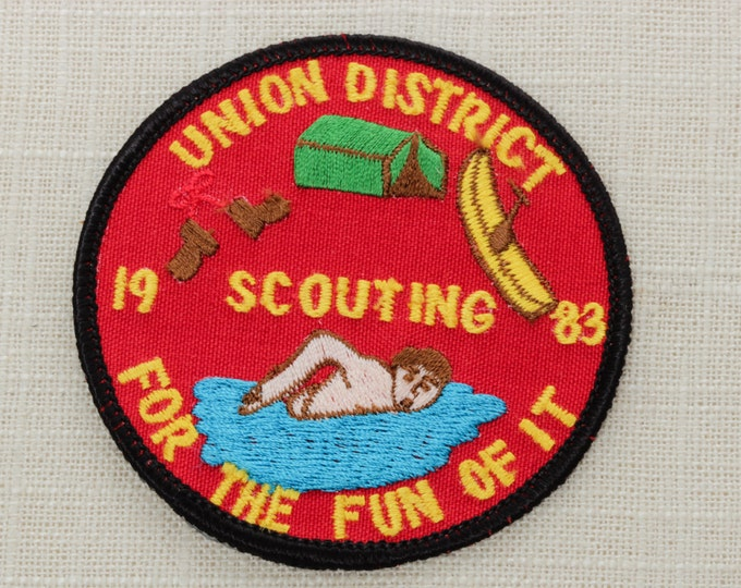 Union District Scouting For The Fun Of It Vintage Sew On Patch - 1983 - Red Boys Scouts - USA - America - Camping - Swimming Canoeing