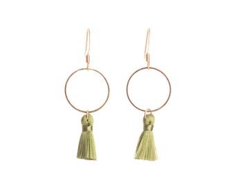 Khaki silk tassel earrings mini tassels everyday earrings wife birthday gift wife gift ideas gift for girlfriend handmade Australia