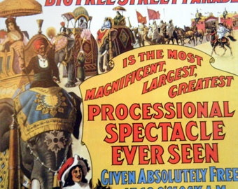 Barnum & Bailey Big Street Parade or Big Circus Tents Vintage Circus Poster -  Poster Size Vintage Book Plate