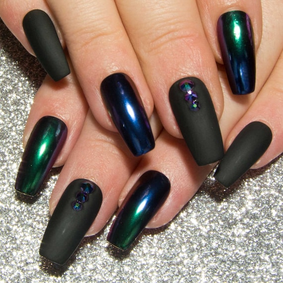 Matte Black & Chrome Nails Ombre Mirror Nails Coffin False