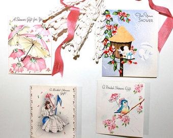 Vintage Wedding Shower Gift Enclosures*Set of 4 Vintage Wedding Cards*1940's Wedding