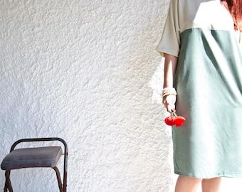 SAMPLE SALE Half Price Color Block Shift Dress, Cream and Mint, Last One