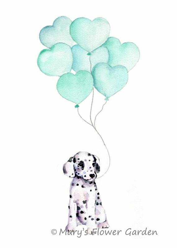 Mint Nursery Art Puppy With Mint Balloon Dog Illustration