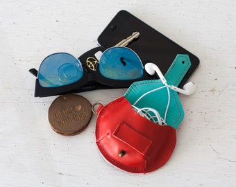 Red leather case for earphones, earbuds pouch headphone holder cable holder organizer earphone keeper coin purse