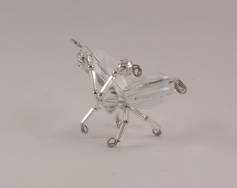 Small clear crystal and silver winged beaded bug, #0505