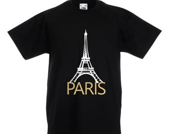 Kids Paris T-Shirt / Childrens Paris T-Shirt in Black or White and Gold Age: 3-4, 5-6, 7-8, 9-11, 12-13