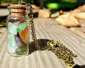 Maine Sea Glass Bottle Necklace