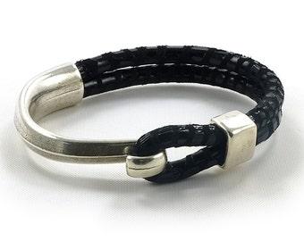 Black Leather Cuff, Silver Hook Bracelet, Half Clasp Bracelet, Mens Leather Bracelet, Silver and Leather Bracelet, Black Cuff Bracelet