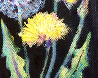 "Dandelions painting flowers still life original floral painting 6 x 4"""