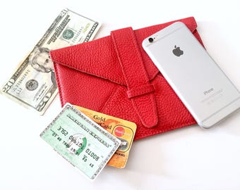 Roots Leather Wallet - Envelope Bag Leather - iPhone Case - Travel Bag - Coin Pouch - Kobo Case - Roots Purse Clutch - Vintage Handbag - Red