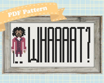 "Hamilton Cross Stitch Pattern (Thomas Jefferson: ""Whaaaaaaat?"")"