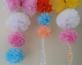 3 butterfly garlands party wedding hanging ceiling decorations  tissue paper pom poms  birthday baby shower