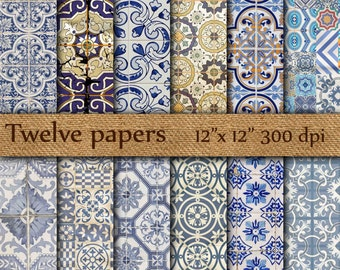 "Tiles digital papers: ""BLUE TILES"" portuguese tiles , tunisian tiles , spanish tiles , abstract pattern , scrapbook papers"