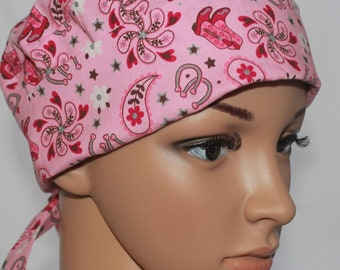 Boots and Spurs,Women's Tie Back Surgical Scrub Hat,Chemo Hat ,OR Scrub Nurse,Scrub Cap,Scrub Hat Vet,Vet Tech