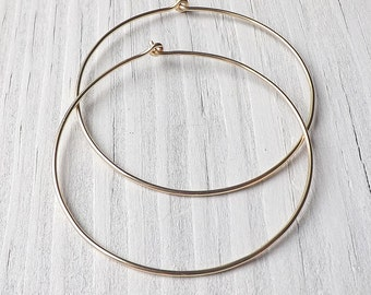Gold Hoop Earrings, Yellow Gold Hoops, Large Gold Filled Simple Hoop Earrings, Gold Jewelry Gift for women, womanmade