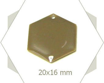 6 hexagons sequins taupe SEH11 pendants