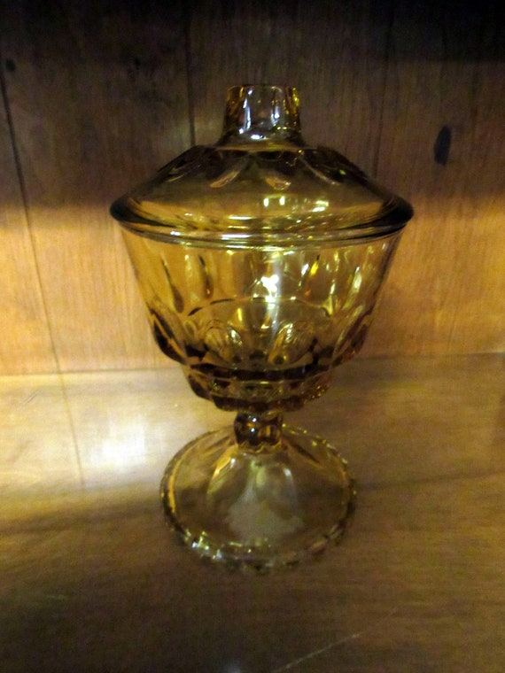 Amber candy dish with lid