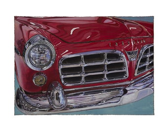 Large or X-Large Car Art Giclée Print - 1955 Cherry Red Chrysler 300 Vintage Car Art - Landscape Version