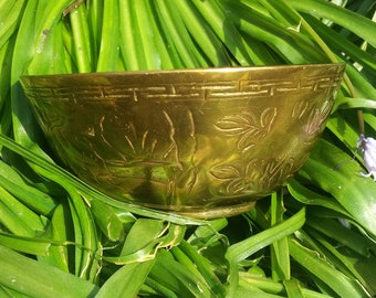 vintage brass Chinese altar bowl