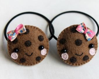 Cute Kawaii Cookie Elastic Hair Tie, Ponytail Holders, Hair Accessories, Hair Ties Girl Hairstyles Wool Felt Eco friendly Beauty Accessories